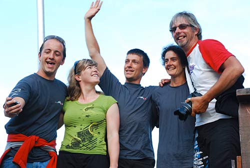Jonathan, Aude and Gabriel win first tandem team, and Marcus and I are first, and also last, female pilot team.